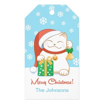White Christmas Cat in a Red Hat Pack Of Gift Tags