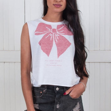 Big Red Bow Crop Muscle Tee