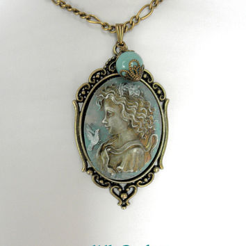 Cameo Necklace Patina Jewelry Vintage Necklace OOAK Necklace  Cameo Jewelry