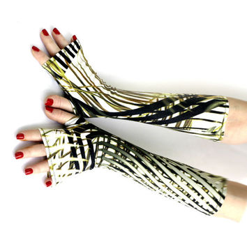 River Fern -Cotton Fingerless gloves, arm warmers -   belly dance fusion Green Yoga Tribal Gypsy Cyber Rave Fusion Acid Mediterranean