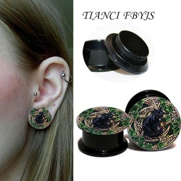 Tianci FBYJS ear plug gauges black acrylic screw fit ear plug flesh tunnel body piercing jewelry Black Cat Earring Gauges