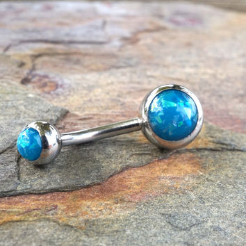 Teal Blue Opal Belly Button Ring Synthetic Opal