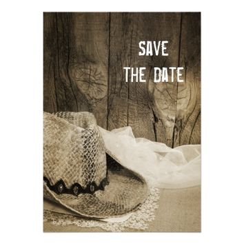 Cowboy Hat Barn Wood Country Wedding Save the Date
