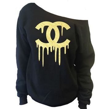 Chanel Top Dripping CC Off-The-Shoulder Wide Neck Slouchy Sweatshirt