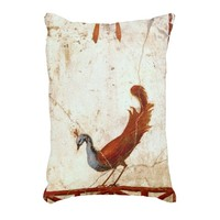 Peacock on Fresco Ancient Roman Rome Painting Accent Pillow