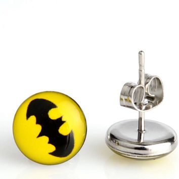 Batman Earrings ~ Marvel Gift for Him ~ Batman Wedding ~ Boy friend Gift Idea ~ Batman Jewelry ~ Superhero Jewelry ~ Batman Stud Earrings