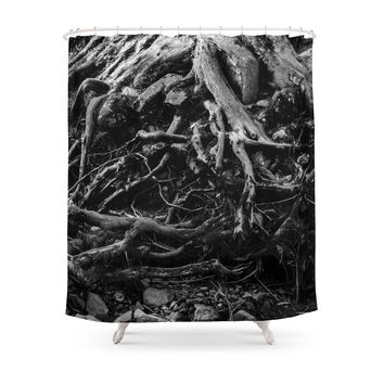 Society6 Black And White Photo Of Gnarled Tree Roots Shower Curtain