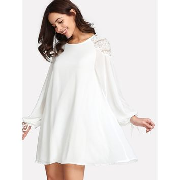 Contrast Lace Bishop Sleeve Dress White