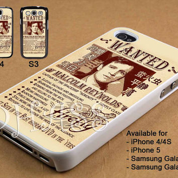 Captain Malcolm Reynolds Wanted Poster Design for iPhone 4/4s/5 Case, Samsung Galaxy S3/S4 Case