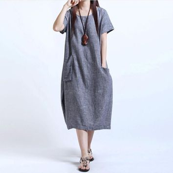 Plus Size Dresses For Women 4xl 5xl 2017 Summer Women Short Sleeve Loose Casual Cotton Linen Dress Maxi Long Large Size Dresses