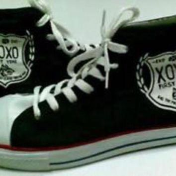 Hand Painted shoes Sneaker model black exo