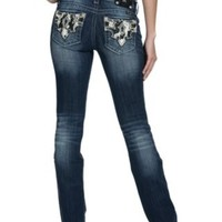 Miss Me Women's Medium Wash Black & White Cowhide Open Pocket Signature Bootcut Jean