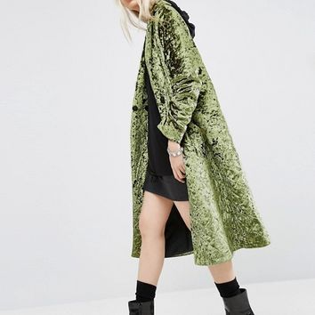 ASOS Longline Coat in Quilted Velvet at asos.com