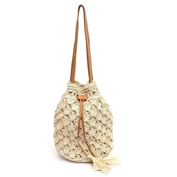 Women Sweet Beach Sling Bag Straw Drawstring Handbag Leisure Bucket