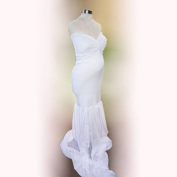 WHITE BIANCA Fully Lined Slimfit/Mermaid Style Jersey/Chiffon Train  Dress/Gown Maternity Baby Shower Pregnancy Special Occasion Photo Shoot