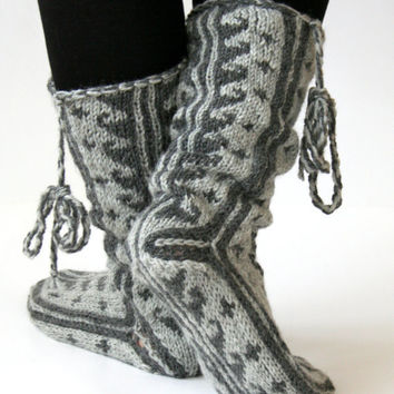 Wool, Grey to Gray, Comfy Slippers ,Handknitted Slippers ,Leg Warmers