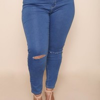 Center Stage Plus Size Jeans Bottoms+ GS-LOVE