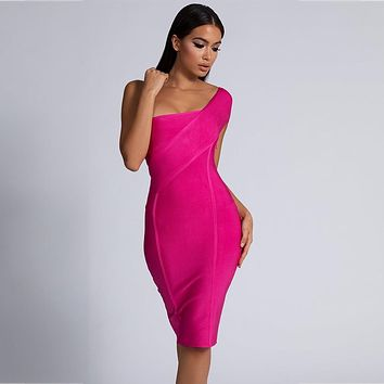 Pink One Shoulder Sleeveless Bandage Dress