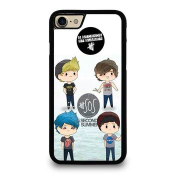 5 SECONDS OF SUMMER 5SOS CARTOON iPhone 4/4S 5/5S/SE 5C 6/6S 7 8 Plus X Case