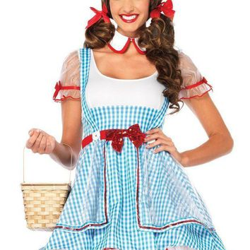 MDIGH3W 2PC.OZ Beauty,suspender dress and peter pan collar in BLUE/WHITE