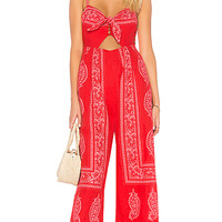Free People Feel The Sun Jumpsuit in Red