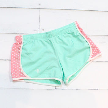 Comfy Running Shorts {Mint + Pink Polka Dots}