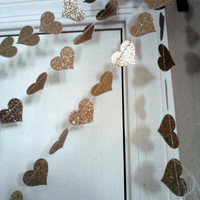 Glitter Gold Paper Heart Garland Weddings Reception Party Decoration Bridal or Baby Shower All Occasion Party Banner