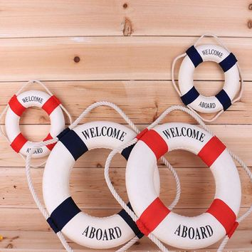 4Size Navy Mediteranean Sea Life Buoy Wall Stickers Hanging Lifebuoy For Bar Home Decor Props Nautical Life Ring Wedding Crafts