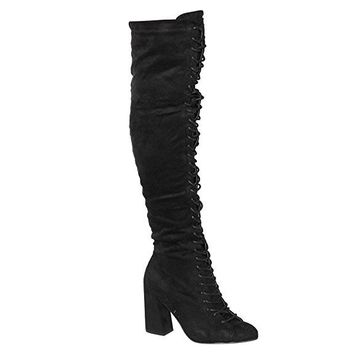 Trina Black Lace Up Knee Boots