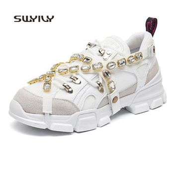 SWYIVY Women Skateboarding Shoes Light Weight Rhinestone Sneakers Women 2018 New Hip hop Lace-up Sport Shoes Women Ins Hot