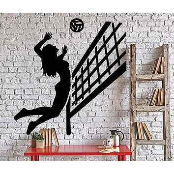 Wall Vinyl Decal Woman Girl Beach Volleyball Player Sport Home Decor Unique Gift z4349