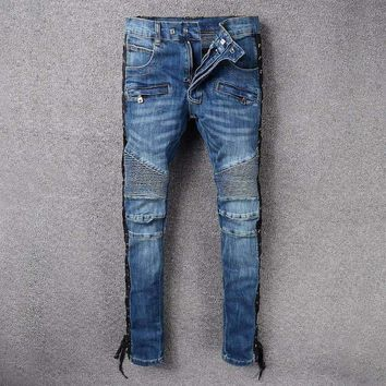 French Style 988Mens Distressed Embellished Ribbed Stretch Moto Pants Biker Jeans Slim Trousers Size 28 42