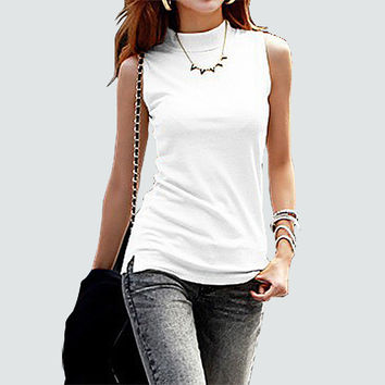 women sleeveless solid color Tops & Tees cotton Tanks tops & Camis women lady Vest 10 colors