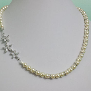 Bridal White Gold Necklace, Pearl Necklace, Floral Wedding Necklace, Flower Necklace, Swarovski Pearl Necklace, DONNA