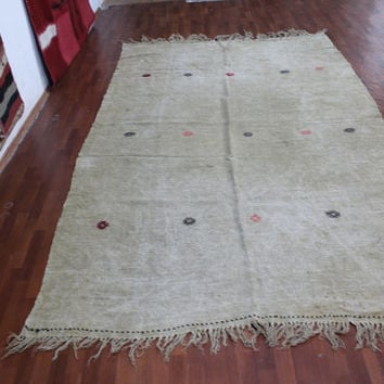 Natural  Handmade Turkish Hemp Kilim Beige - Vintage Oriental Kilim (185X 300 cm)(6,1ft X 9,8ft)