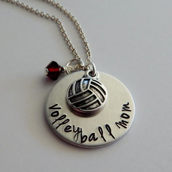 Hand Stamped Volleyball Mom Necklace with Birthstone and Volleyball Charm / Volleyball Mom Pendant with Volleyball Charm / Sports Mom