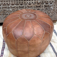 Stuffed Large Round Tuning Oak Hand Stitched Leather Ottoman Natural Tan Pouf