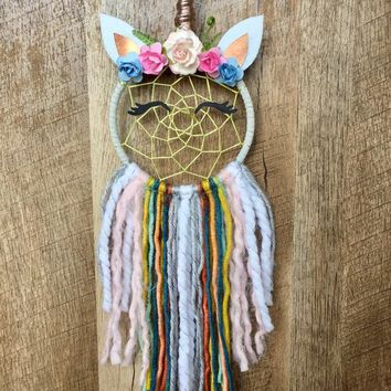 Unicorn Dream Catcher | Dream Catcher | Medium Dream Catcher | Rose Gold Accents | Ready To Ship | Nursery Decor | Wedding Decor