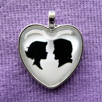 Rapunzel and Eugene Tangled Heart Silhouette Cameo Pendant Necklace
