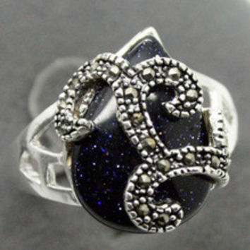 Free shipping RARE VINTAGE .925 STERLING SILVER RING MARCASITE BLUE GOLDSTONE SZ 7/8/9/10