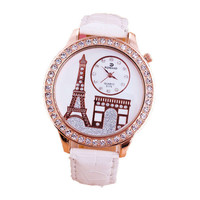 Womens Diamond Casual Sports Leather Strap Watch Best Gift