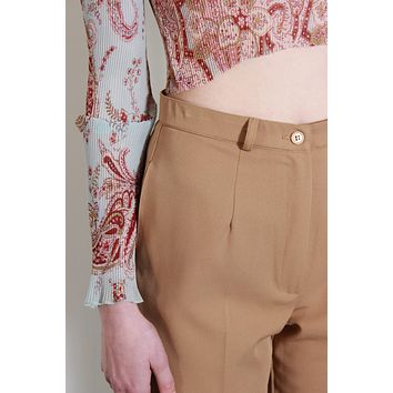 High Rise Camel Tapered Pants / M