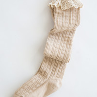 Taylor Ruffle Beige Over-The-Knee Socks