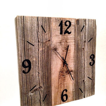 ON SALE Rustic Natural Barn Wood Wall Clock 15x15