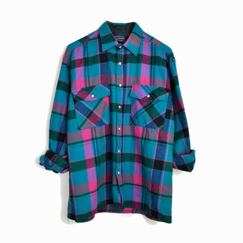 Vintage Flannel Plaid Shirt in Pink & Teal  - men's medium