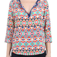 Geometric Pop Blouse