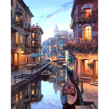 Frameless Venice Night Landscape DIY Painting By Numbers Kits Coloring Painting By Numbers Home Wall Art Decor For Unique Gift