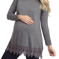 PinkBlush Maternity Crochet Trim Maternity Top - Grey -