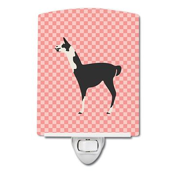 Llama Q' Ara Pink Check Ceramic Night Light BB7918CNL