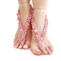 CIJ SALE // Pink Frilly Wedding Crochet Barefoot sandal, Dreamy Wedding Jewelry, Romantic, Nude shoes, Foot thong jewelry